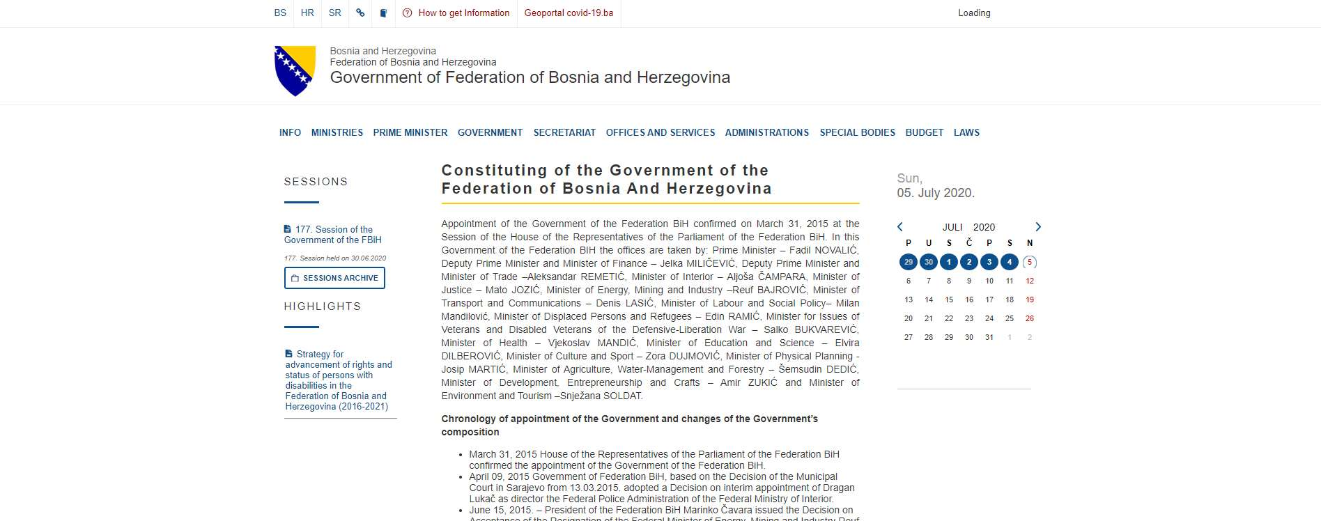 Government of Federation of Bosnia and Herzegovina